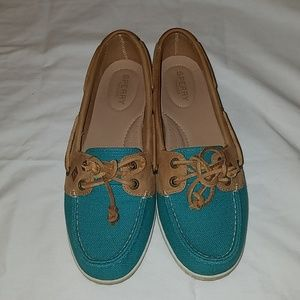 Sperry Firefish Canvas Boat Shoe Teal and Tan 9
